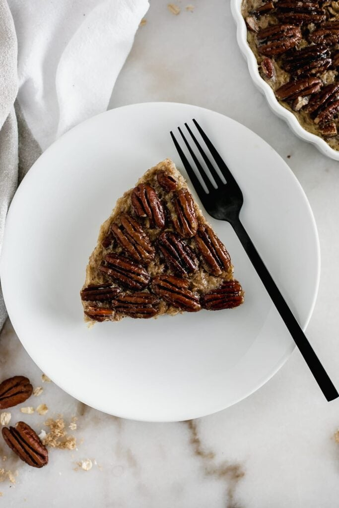 A slice of healthy pecan pie baked oatmeal.