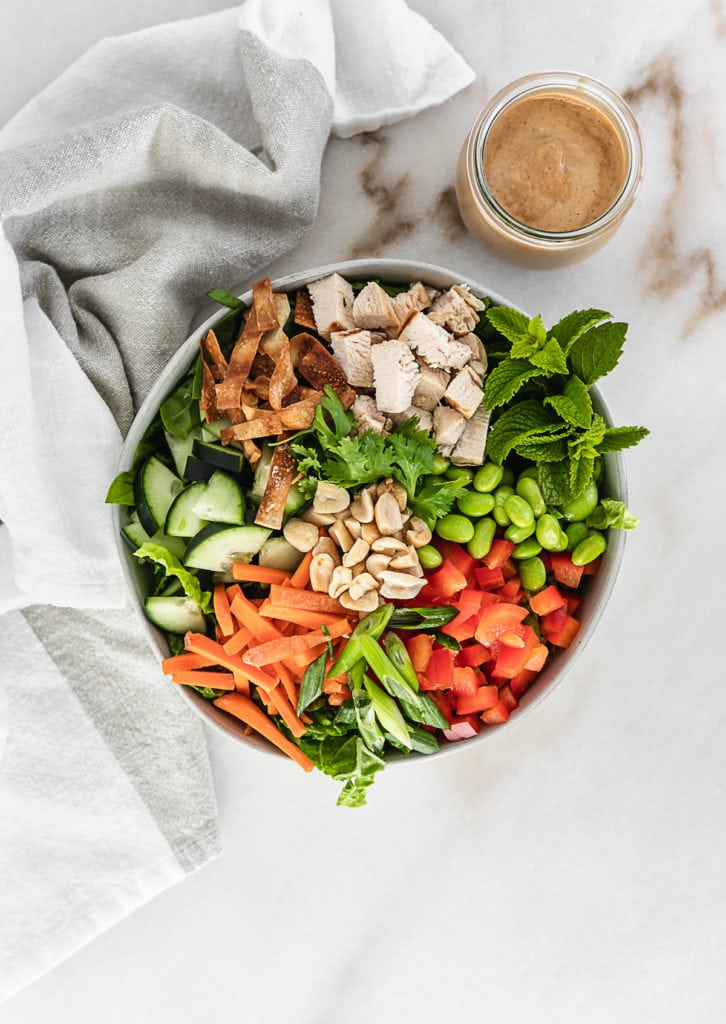 Thai peanut chopped chicken salad