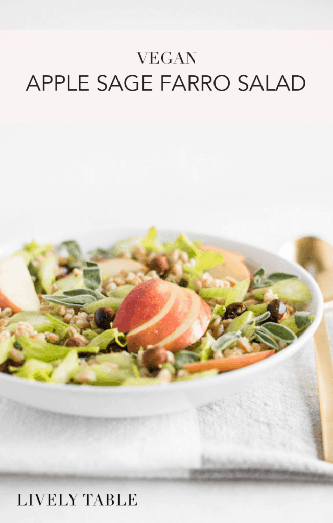 Celebrate fall with this vegan apple sage farro salad made with apples, hazelnuts, sage, and whole grain farro. It's a nutritious, meal prep friendly vegan side dish or lunch perfect for fall! (#vegan, #dairyfree) #farro #apples #grainbowl #salad #wholegrains #ancientgrains #healthy #recipes #mealprep