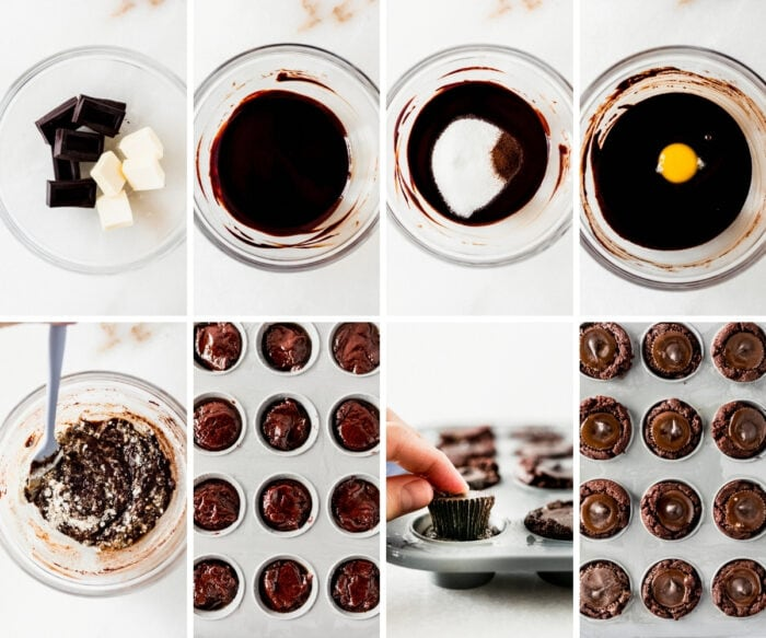 8 image collage showing steps for making peanut butter cup brownies.