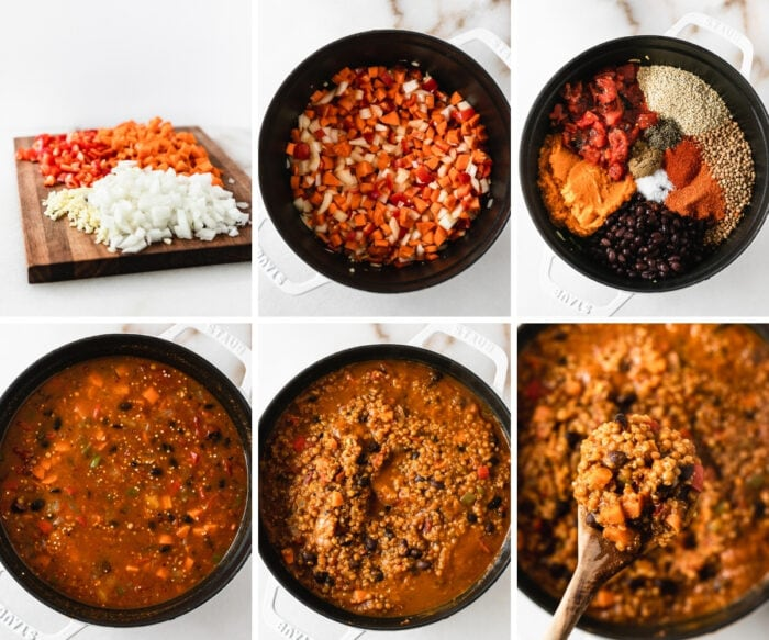 six image collage showing steps for making vegan pumpkin lentil chili in a white pot.