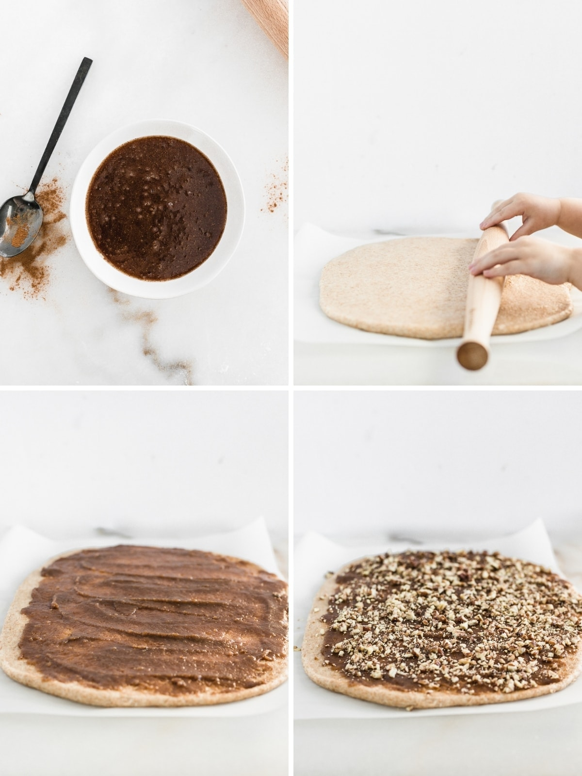 four image collage showing steps to filling cinnamon roll dough with pecan filing.