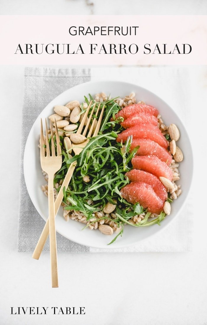 A delicious and wholesome salad made with whole grain farro, sweet ruby grapefruit, arugula, hazelnuts and a grapefruit champagne vinaigrette. #vegan #grapefruitrecipes #grapefruitsalad #arugulasalad #easysaladrecipes #easysalads