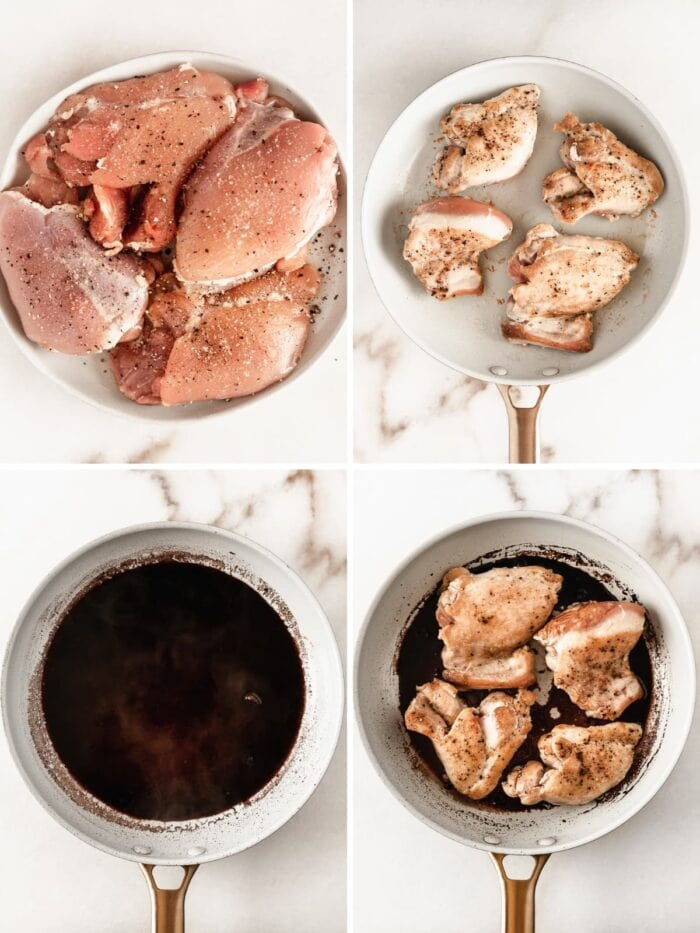 4 image collage showing steps for making pomegranate balsamic chicken.
