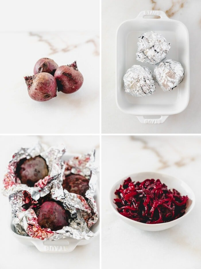 4 image collage showing steps to roasting and shredding beets.