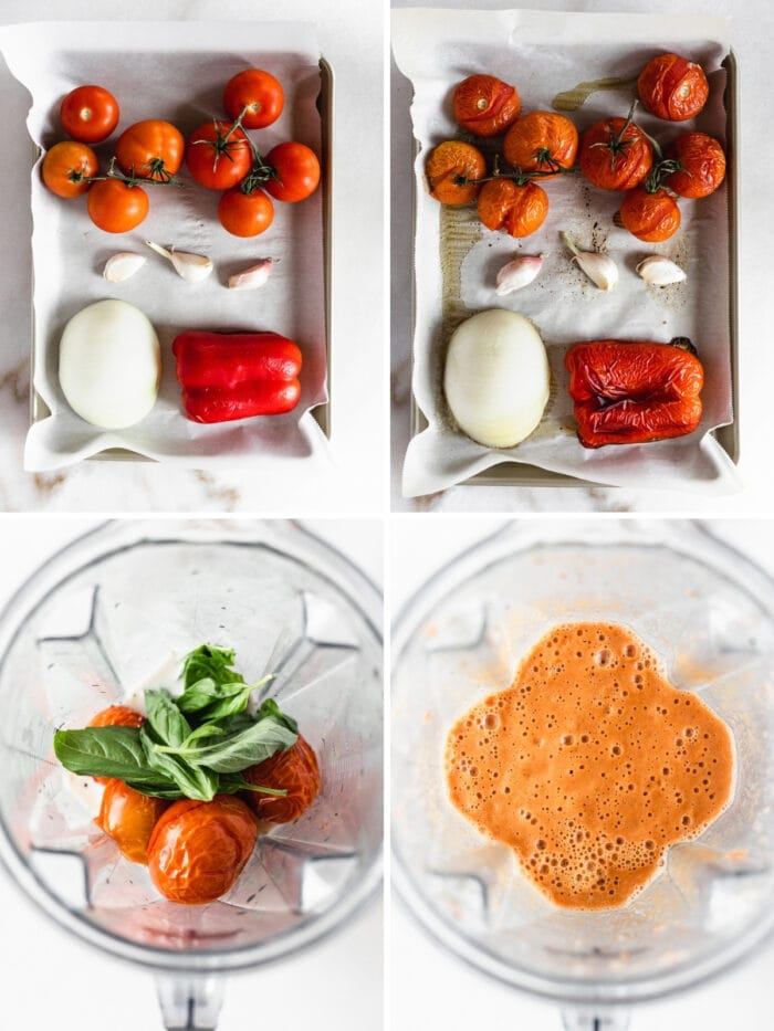 four image collage showing steps to making Roasted Red Pepper Tomato Basil Soup.