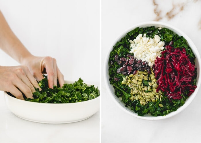collage showing hands massaging kale in a white bowl and a bowl of kale with beets, pepitas, dried cherries and feta on top.
