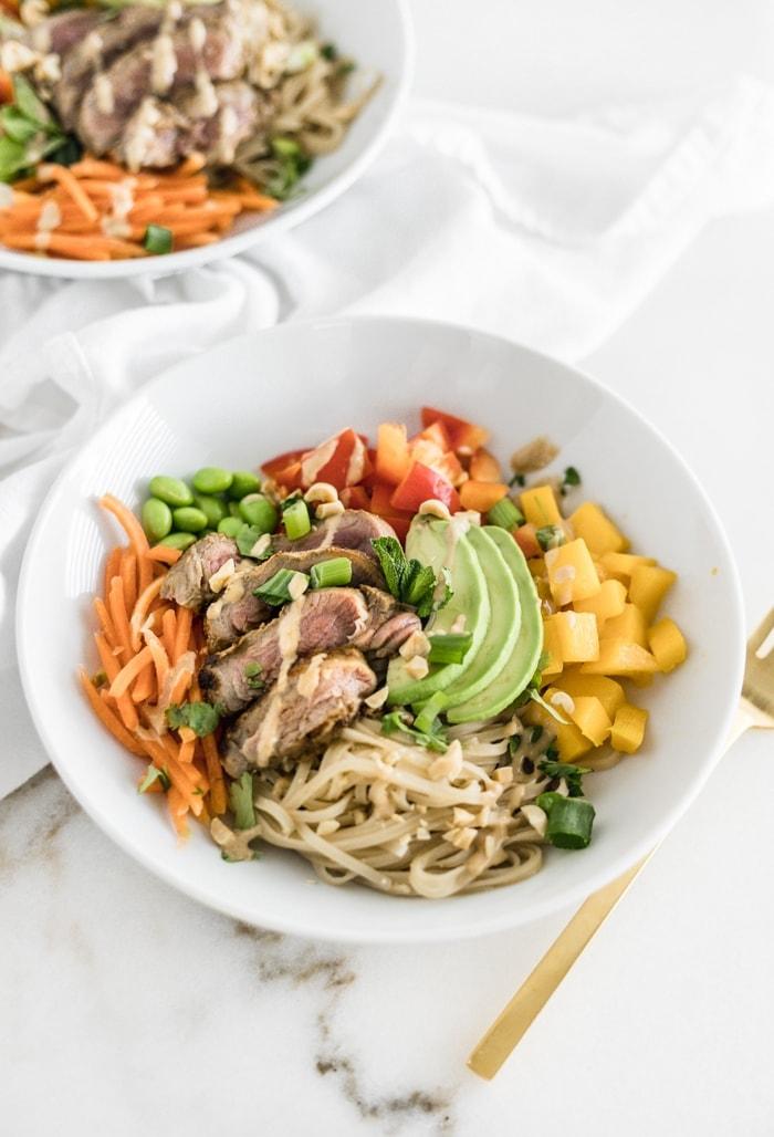 thai mango steak noodle bowls