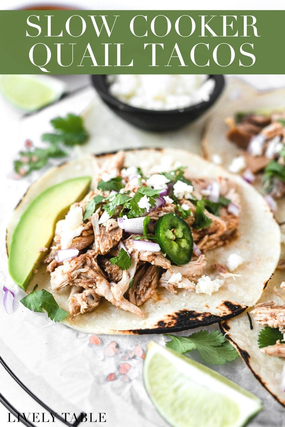 Slow cooker pulled quail street tacos are filled with deliciously tender, slow cooked quail for a healthy and flavorful Taco Tuesday meal! #glutenfree #nutfree #dairyfree #streettacos #quail #tacorecipes #tacos #texmex #crockpot #slowcooker #easyrecipes