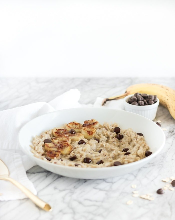 bowl of Caramelized Banana Dark Chocolate Oatmeal