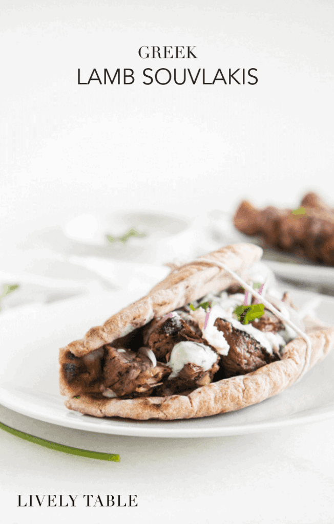 Enjoy classic Greek lamb souvlakis at home with this easy and delicious recipe featuring tender grilled lamb, creamy homemade tzatziki sauce and whole grain pitas. #souvlaki #lamb #greek #grilling #healthy #mediterranean #recipes #gyro