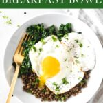Kale, lentils, yogurt, and eggs come together to make a healthy, delicious and savory breakfast with ingredients you probably already have in your kitchen in this Kale Lentil Breakfast Bowl! #glutenfree #nutfree #vegetarian #breakfastbowl #kalerecipes #lentilsforbreakfast #lentilrecipes #healthyrecipes #healthybreakfast