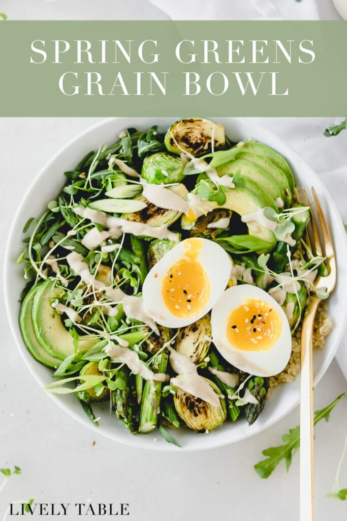 overhead view of spring green grain bowl with a soft boiled egg on top with text overlay.