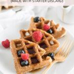 pinterest image for sourdough waffles