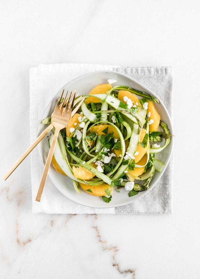 Shaved Asparagus Salad with Oranges and Goat Cheese