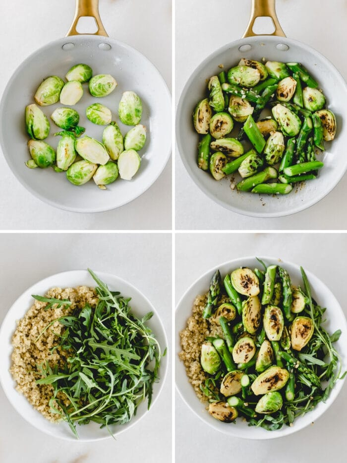 four image collage showing steps for making spring greens quinoa bowl.