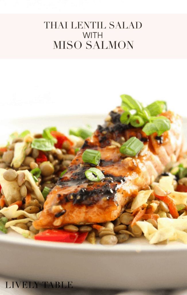 This Thai Lentil Salad with Miso Salmon is a flavorful, healthy meal that can be made in under 30 minutes! (#glutenfree, #dairyfree) #salmon #lentils #cabbage #thai #seafood #asian #healthy #recipes
