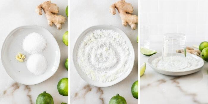 three image collage showing steps to rimming lemongrass margarita glasses.