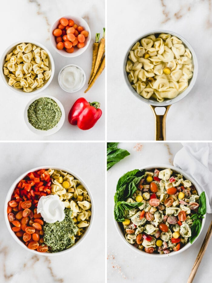 four image collage showing steps for making creamy tortellini pesto pasta salad.