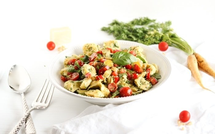 Carrot Top Pesto Tortellini Pasta Salad