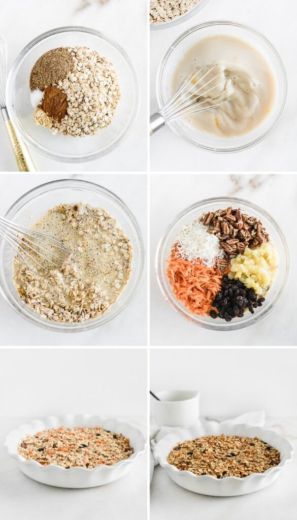 How to make healthy carrot cake baked oatmeal.
