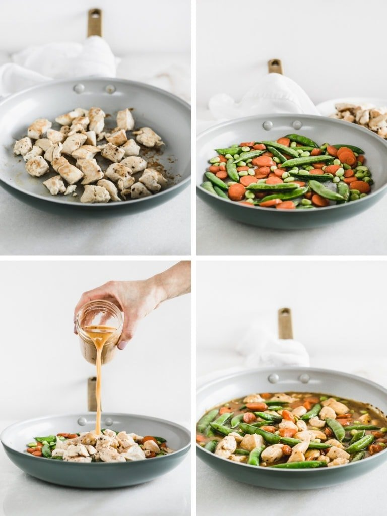 collage of 4 photos showing how to make orange chicken in a skillet.
