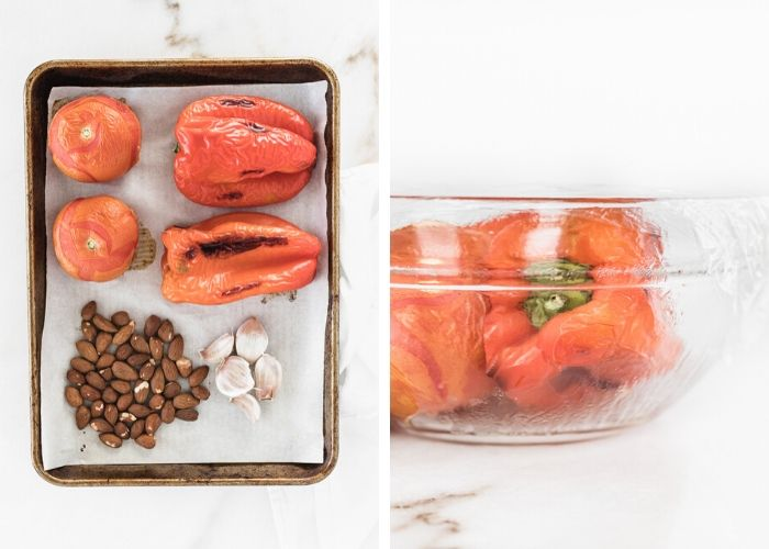 two side by side images, one with roasted red peppers, tomatoes, garlic and almonds on a sheet pan, the other with roasted peppers and tomatoes in a glass bowl covered with plastic wrap.