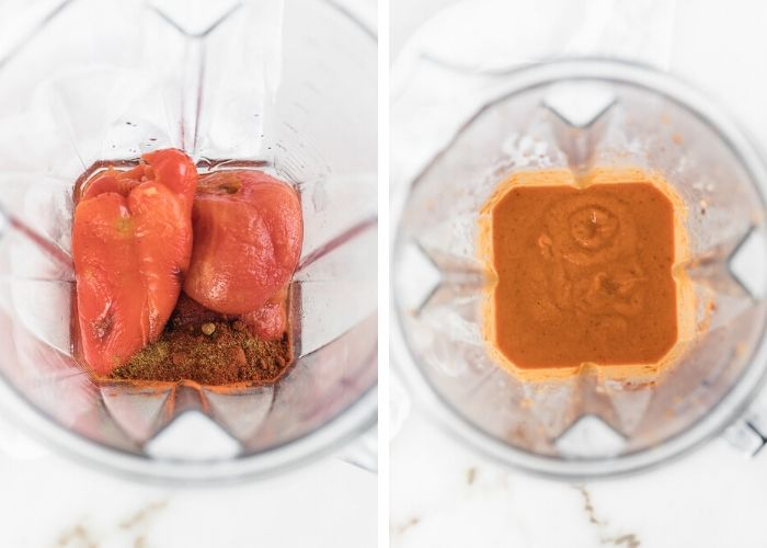 two side by side images of an overhead view of a blender, one with romesco sauce ingredients, one with the blended romesco sauce.