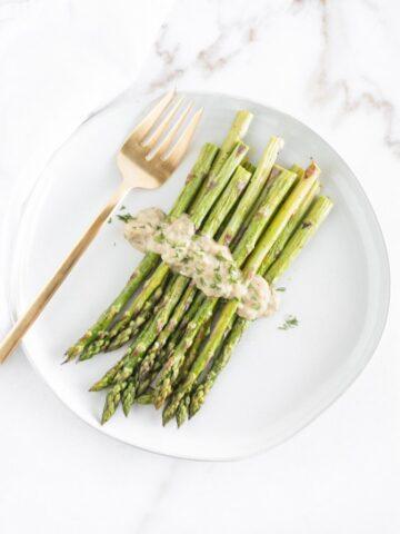 Roasted Asparagus with Dijon Dill Sauce