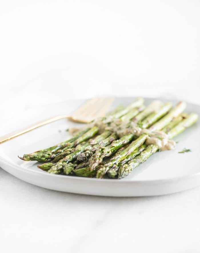 Roasted Asparagus with Dijon Dill Sauce