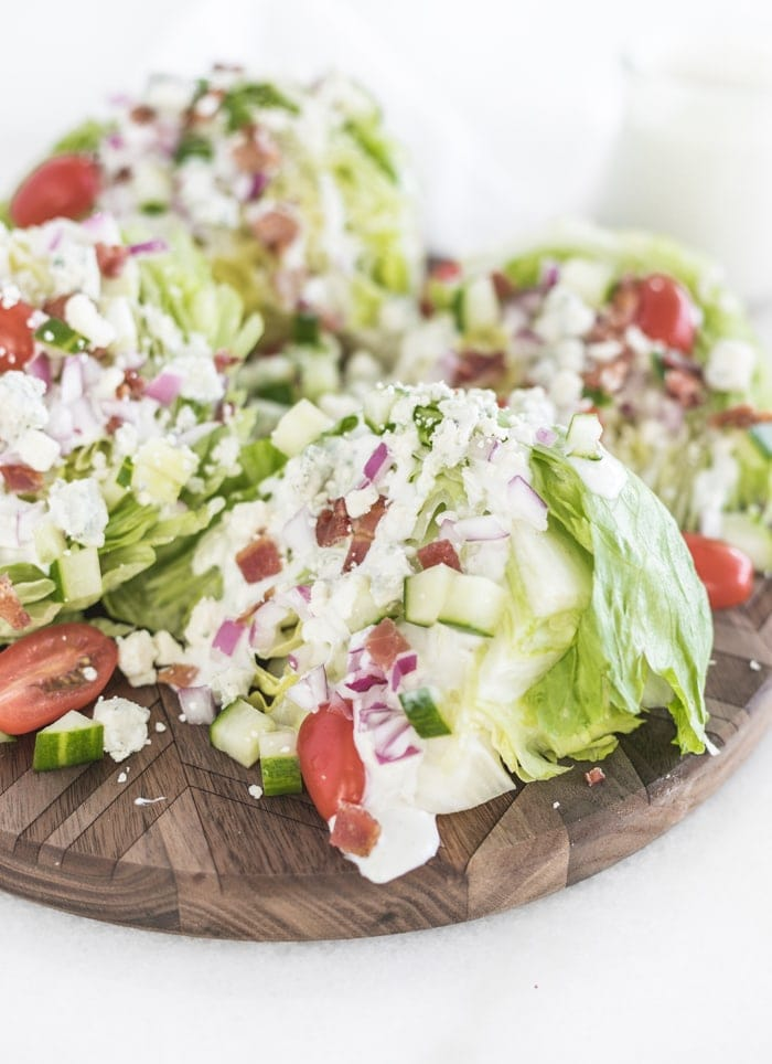 wedge salads with homemade blue cheese dressing