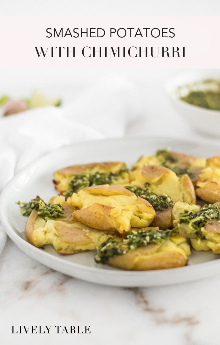 Crispy outside, fluffy inside, smashed potatoes with chimichurri sauce are the perfect accompaniment to any meal! #glutenfree #vegan #veganmashpotatoes #sidedishpotatoes #sidedish #healthysidedish #sidedishwithchimichurri #chimichurridishes