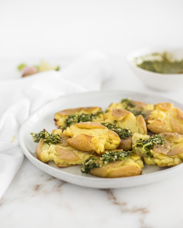 Smashed Potatoes with Chimichurri