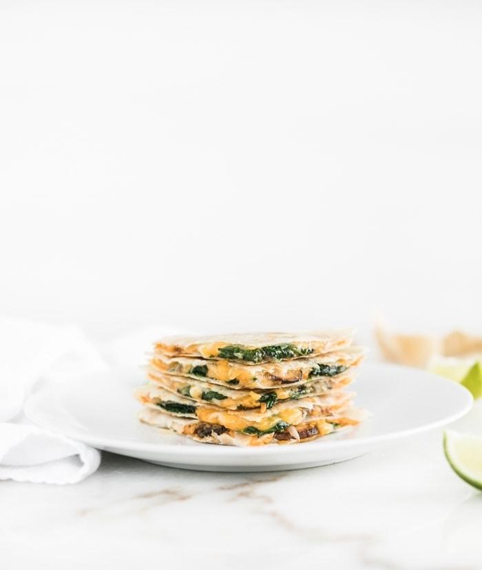 Spinach Mushroom Hummus Quesadilla