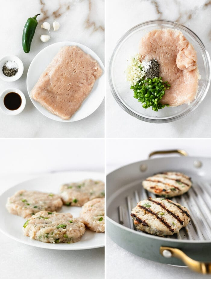 four image collage showing steps for making jalapeño chicken burgers.