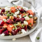 This watermelon beet salad is a beautiful and refreshing salad for all of your summer meals! (vegetarian, gluten-free)