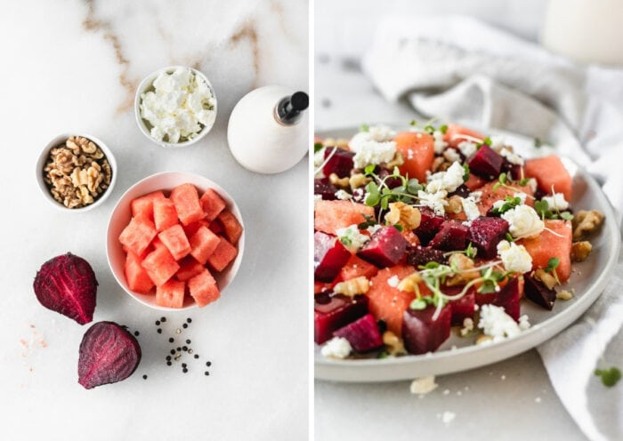 two image collage showing ingredients for making a watermelon beet salad and the finished salad on a grey plate.