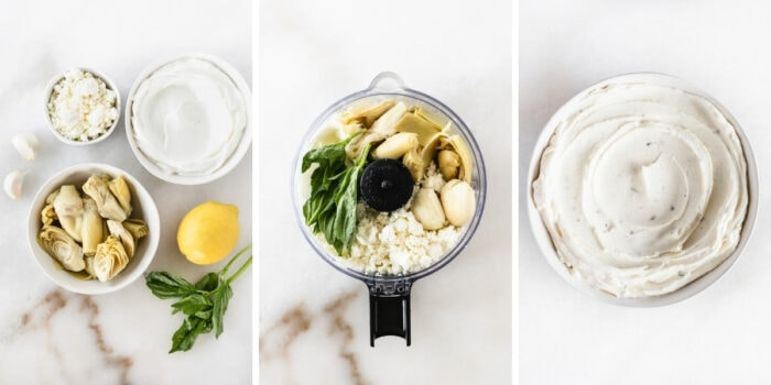 three image collage showing steps for making whipped feta artichoke dip.