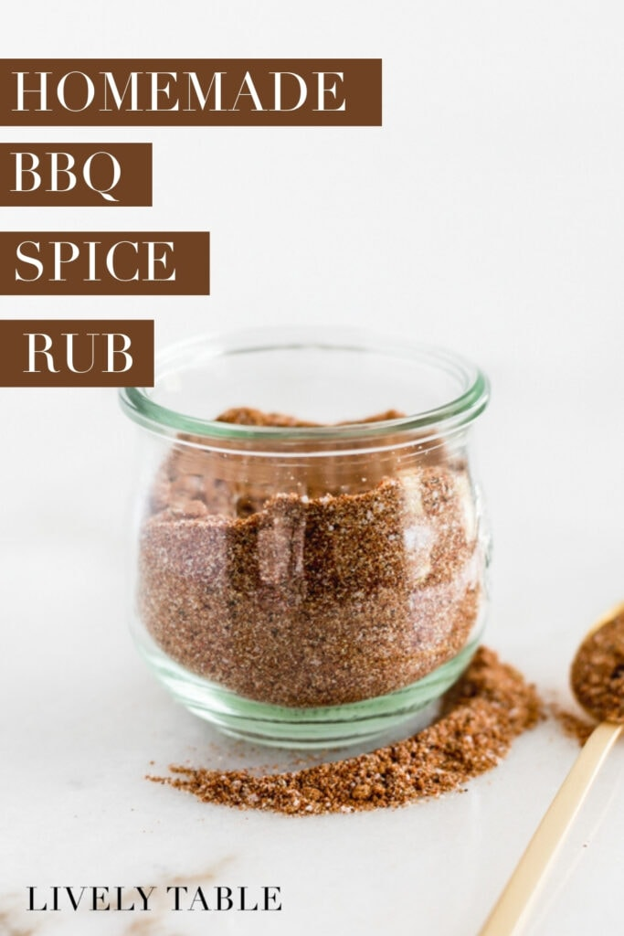 jar of homemade bbq rub with text overlay.