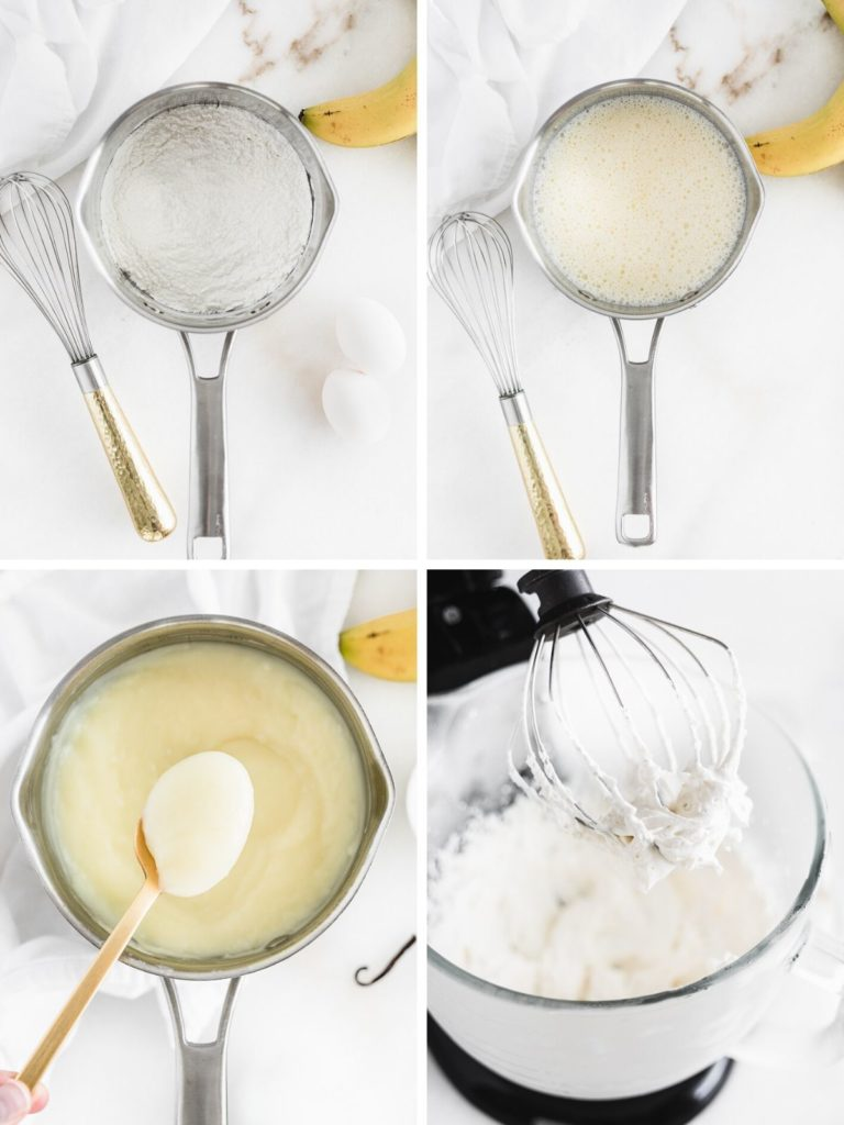 collage image showing steps for making banana pudding.