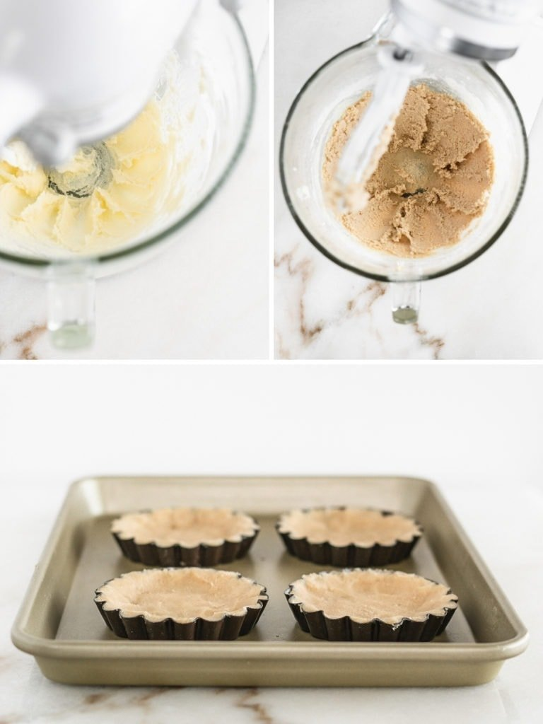 collage image showing steps to making shortbread tart crust with a stand mixer.