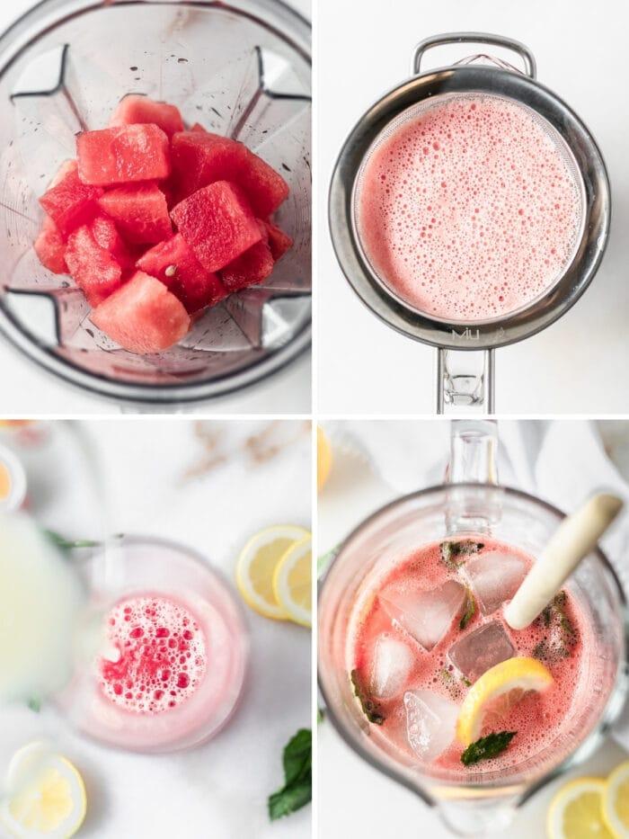 four image collage showing steps for making sparkling watermelon mint lemonade.