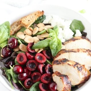 This cherry almond grilled chicken salad is a light and healthy meal you can enjoy all summer long! (gluten-free)
