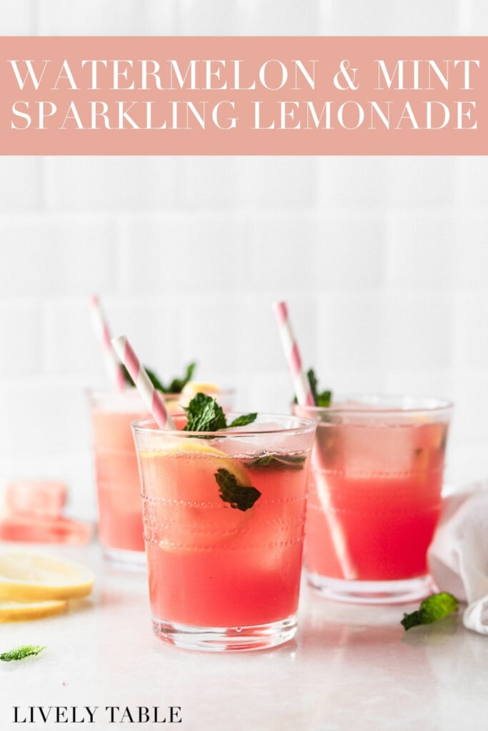 three glasses of watermelon mint lemonade with pink striped straws surrounded by lemon slices and mint leaves with text overlay.