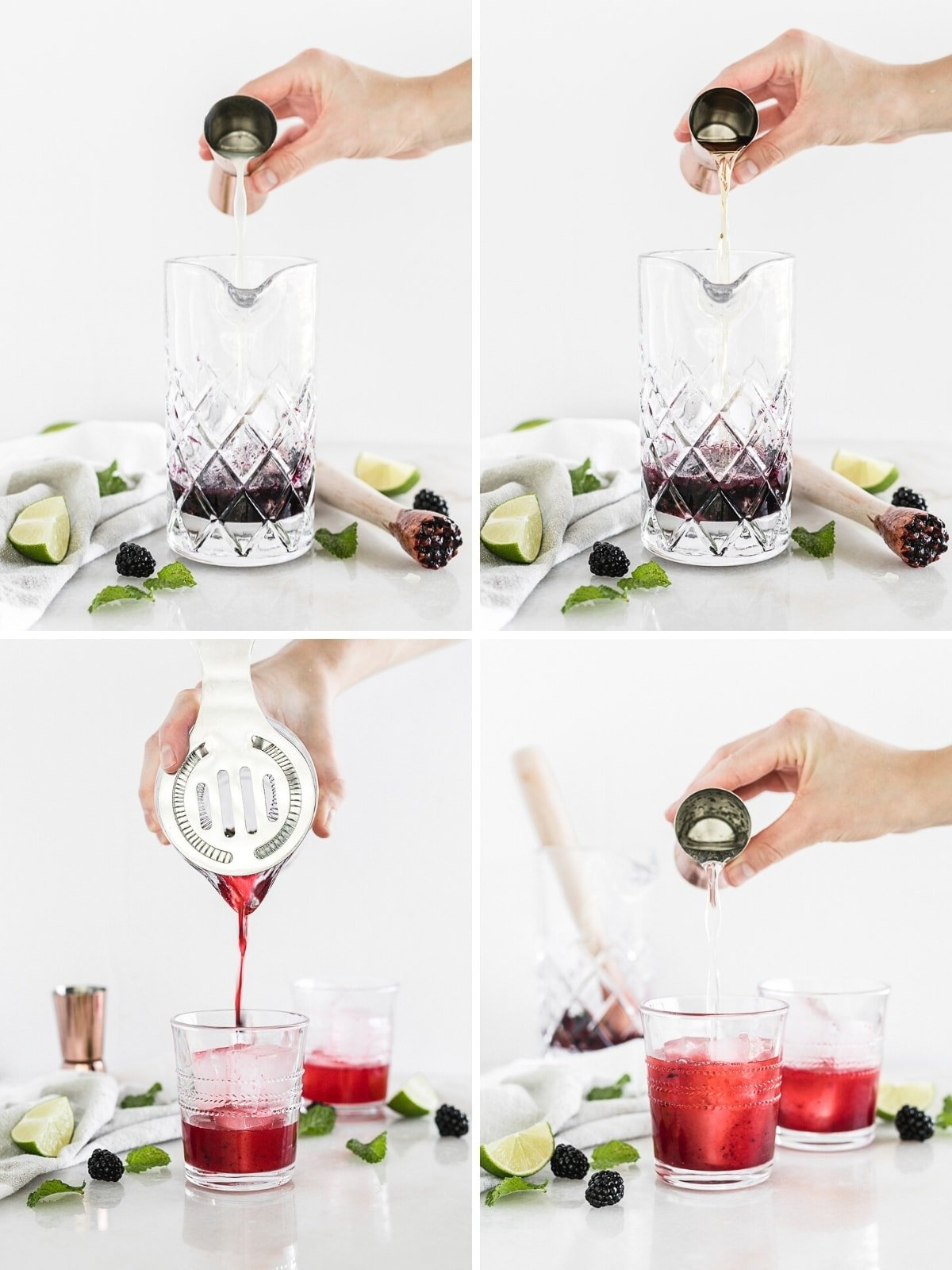 If you enjoy bourbon, you'll love this delicious blackberry bourbon smash, an bourbon cocktail with sweet summer blackberries, lemon and fresh muddled mint topped with bubbly soda. It's an easy and elegant summer sip! Via livelytable.com