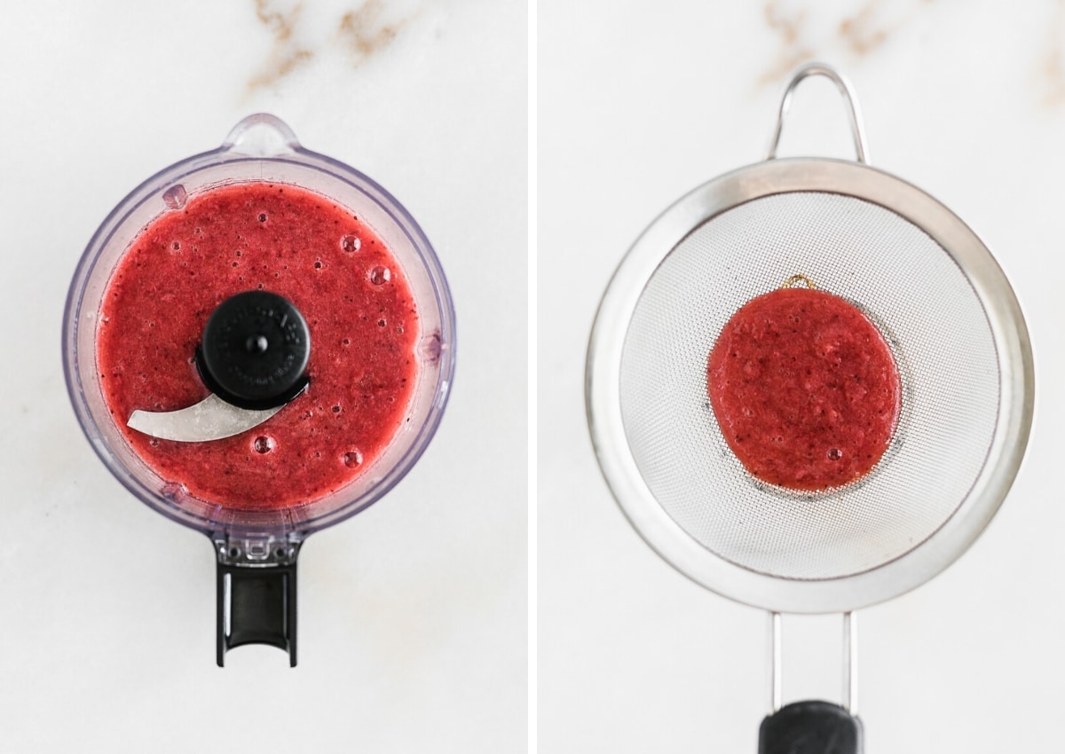 two side by side images of strawberry puree in a food processor and the puree being strained through a mesh strainer.