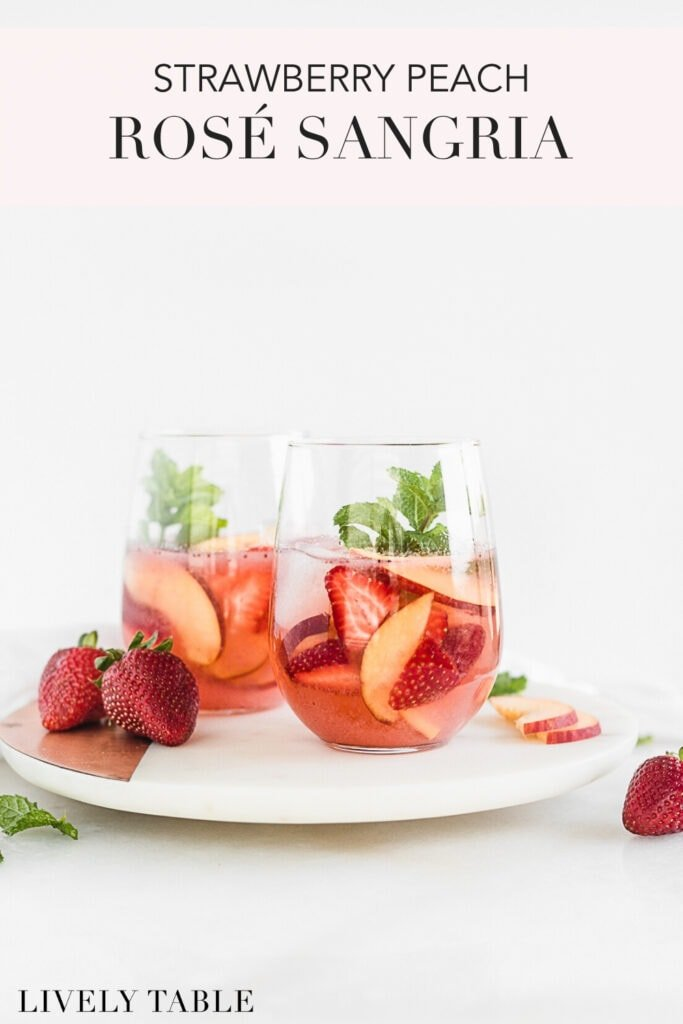 Pinterest image with text for rosé sangria.