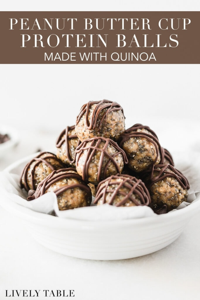 peanut butter cup quinoa protein balls stacked in a round white dish with text overlay.