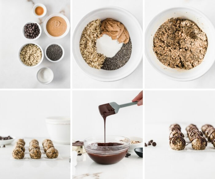 six image collage showing steps for making peanut butter cup protein balls.