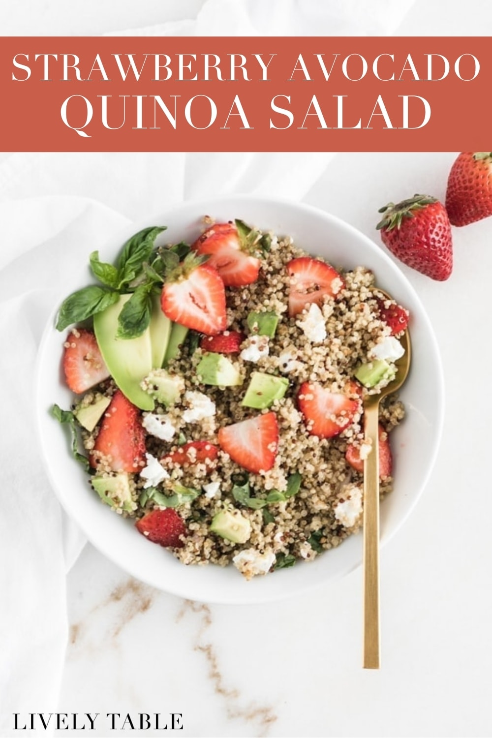 This Strawberry Avocado Quinoa Salad is a delicious, wholesome dish that uses the best of summer strawberries in a satisfying, vegetarian lunch or a fresh, whole grain side dish! #vegetarian #veganoption #sidedish #salads #strawberrysalad #quinoa #avocado #goatcheese #salads